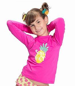 Blusa UV Feminina Pink/Abacaxi