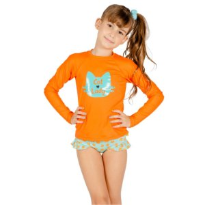 Blusa UV Infantil Feminina Gatinho