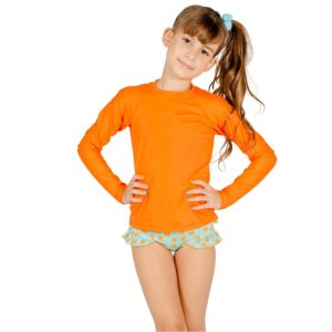 Blusa UV Infantil Unissex Lisa Laranja