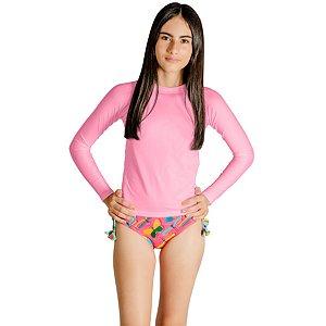 Blusa UV Infantil Feminina Lisa Rosa