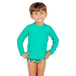 Blusa UV Infantil Masculina Lisa Verde