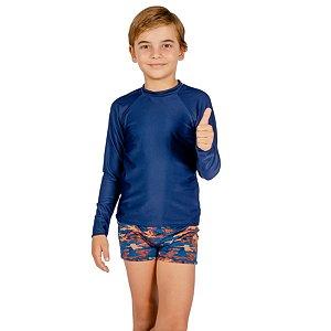 Blusa UV Infantil Masculina Lisa Marinho