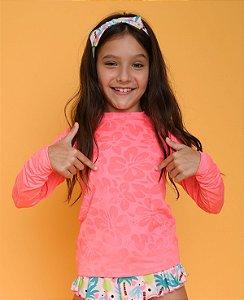 Blusa UV Infantil Feminina Rosa Splash