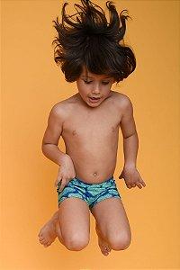 Sunga Infantil Leh Boxer Verde Azul