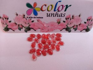 Pcte Oval Glitter vermelho 24un