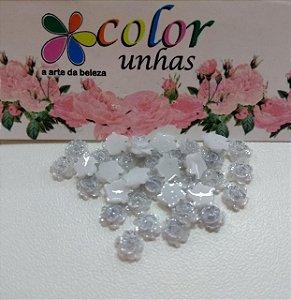 Pcte Rosa 3D Prata glitter 32un