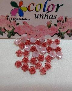 Pcte Rosa 3D vermelha glitter 32un