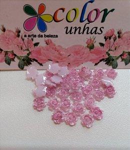 Pcte Rosa 3D Rosa glitter 32un