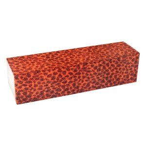 Lixa Cubo Estampa Onça Vermelha Para Acabamentos de Unhas