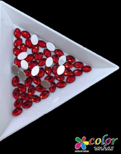 Oval Facetado 4.6MM - Vermelho