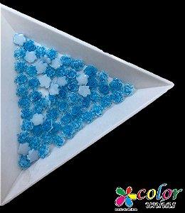 Rosa 3D - Azul Flocada
