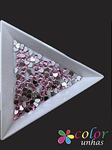 Coração Acrílico 3MM - Rosa 60 Unidades