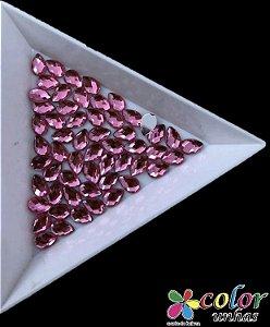 Gota Acrílica Facetada 3,6MM - Rosa 30 Unidades