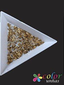 Meia Lua Metálico 1,5x3MM - Dourado 100 Unidades