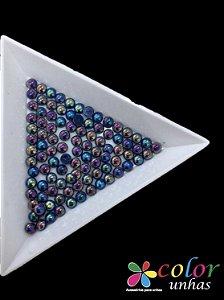 Meia Pérola Boreal 3MM - Azul AB 50 Unidades