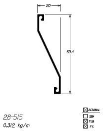 28-515 1,87 KG BARRA 6,00 ML ESQUADRIA DE ALUMINIO