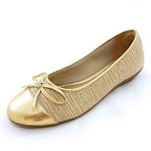 Sapatilha Dourada Craquelê Ouro Cru