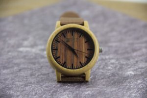 Wooden Watch Bambu Lines Brown