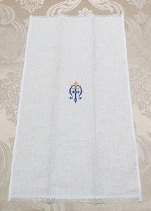 Sanguíneo em linho com bordado mariano coroa