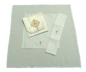Kit viático JHS para levar a Santa Eucaristia aos enfermos com alfaias cruz  + Toalha