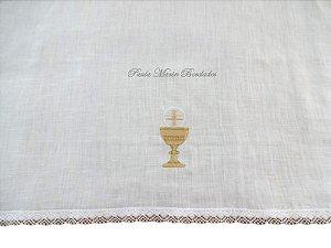 Corporal liturgico  para altar igreja católica com bordado de cálice