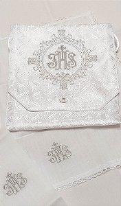 Kit Viático ou kit ministro para levar a Santa Eucaristia para enfermos - JHS Brasão com alfaias JHS Prata