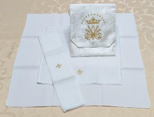 Kit Viático ou kit ministro para levar a Santa Eucaristia para enfermos - mariano branco liturgico dourado
