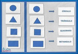 Formas Geométricas e cor azul - Associar palavras