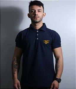Camiseta Polo Bordada Masculina Navy Seals