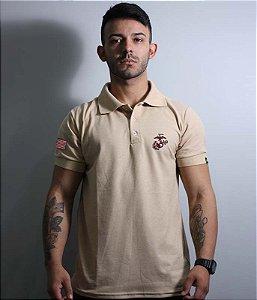 Camiseta Gola Polo Marines Corp Bordada
