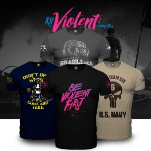 Kit Violent 4 Camisetas Militares Masculinas com Estampa