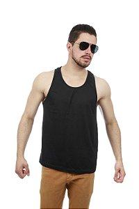 Camiseta Regata Basica Na cor Preta Sem Estampa