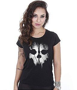 Camiseta Militar Baby Look Feminina COD Ghosts