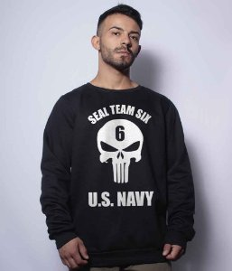 Casaco Básico de Moletom The Punisher Seal Team Six US NAVY