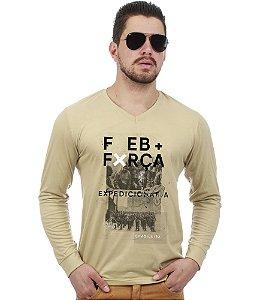 Camiseta Militar Manga Longa FEB Força Expedicionária Brasileira Team Six