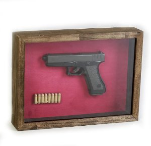 Quadro Retro Pistola Colt Preta M1911