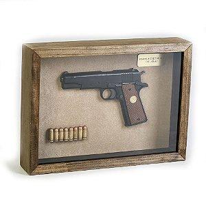 Quadro Retro Pistola Colt M1911 Calibre .45 AC Preta