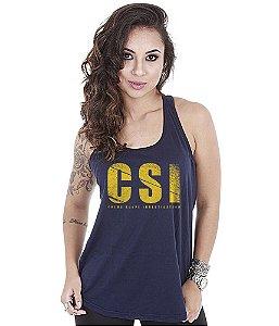 Camiseta Regata Militar Feminina CSI Crime Scene Investigation