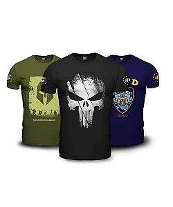 Kit 3 Camisetas Masculinas Militares Guerreiro