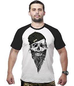 Camiseta Raglan Skull Beard Beanie
