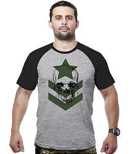 Camiseta Raglan Army Skull