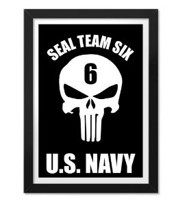 Poster Militar com Moldura Punisher Seal Team Six U.S Navy