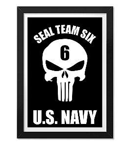 Poster Militar com Moldura Punisher Seal Team Six U.S Navy