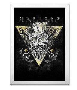 Poster Militar com Moldura Marines Beard