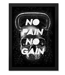 Poster Academia com Moldura Skull No Pain No Gain