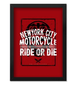 Poster com Moldura New York City Motorcycle