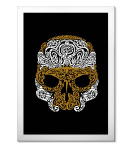Poster com Moldura Outdoor Golden Skull
