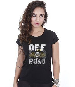 Camiseta Off Road Baby Look Feminina 4x4 Skull Fly