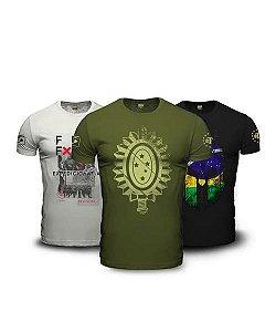 Kit  3 Camisetas Militares Masculinas Patriota