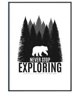 Poster Minimalista Outdoor Never Stop Exploring